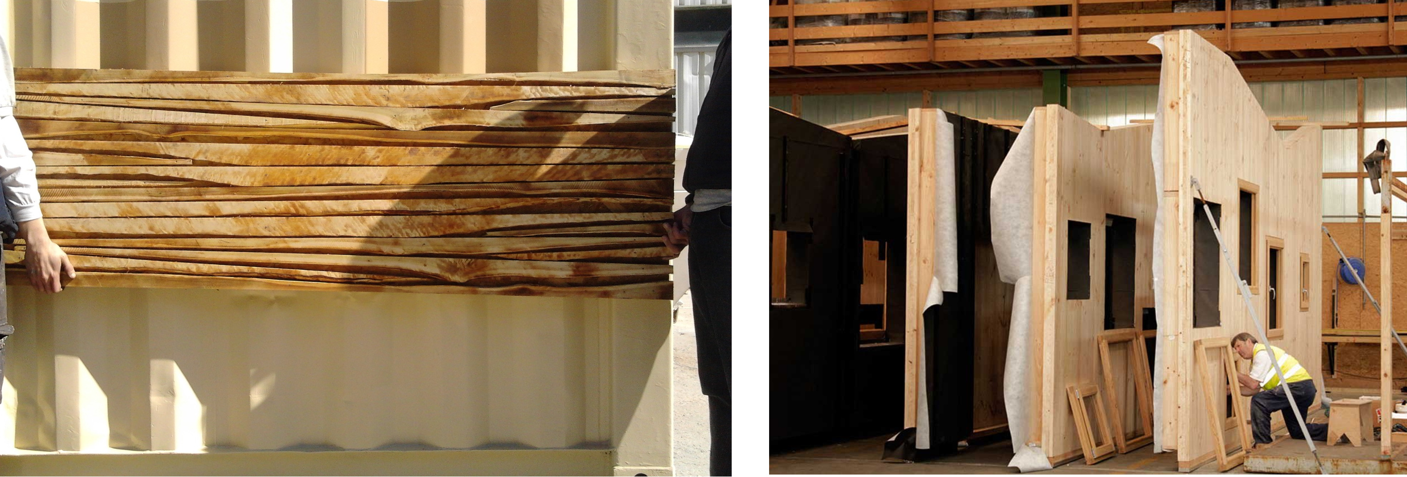 Test of façade with surplus wood on ISO container (Straddle3) and assembly workshop of two-dimensional panels (Egoin)